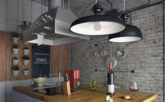 лофт светильники на кухне